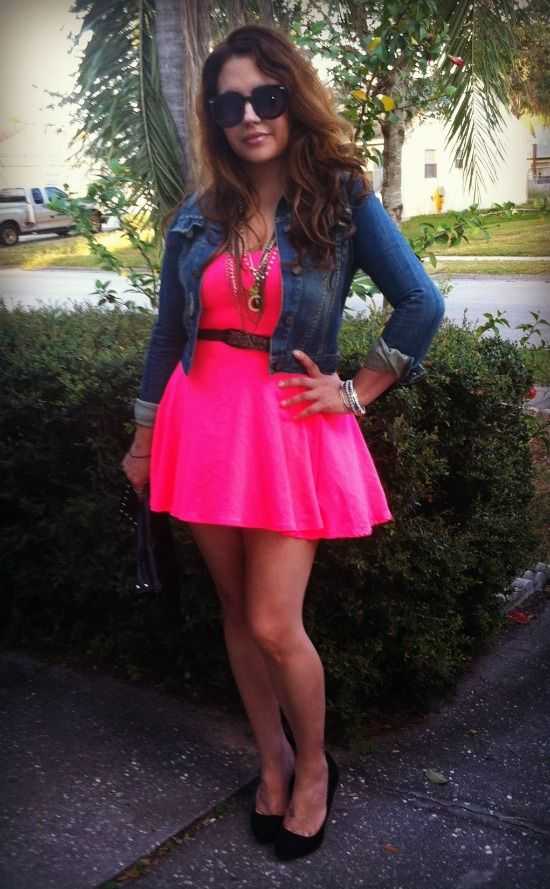 neon pink dress with denim jacket | Outfits to Try | Pinterest ...