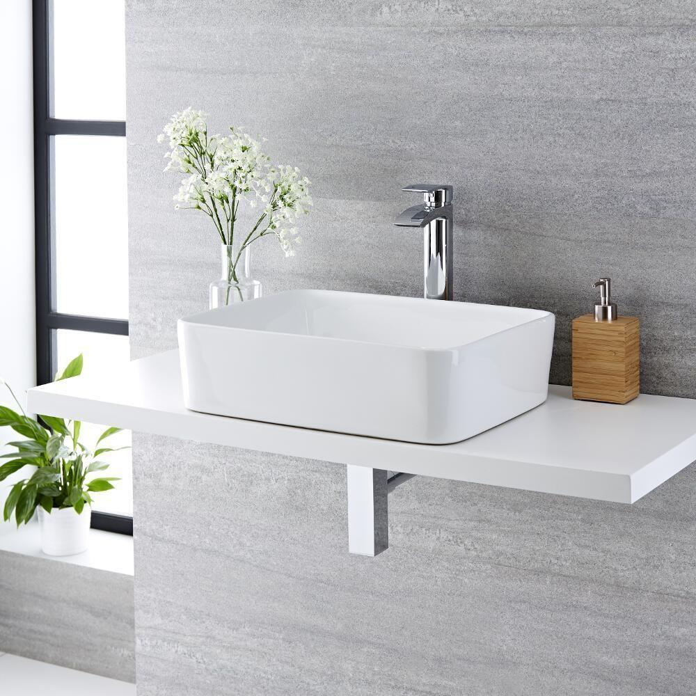 Lavello Bagno Da Appoggio lavabo bagno da appoggio rettangolare in ceramica 480x370mm