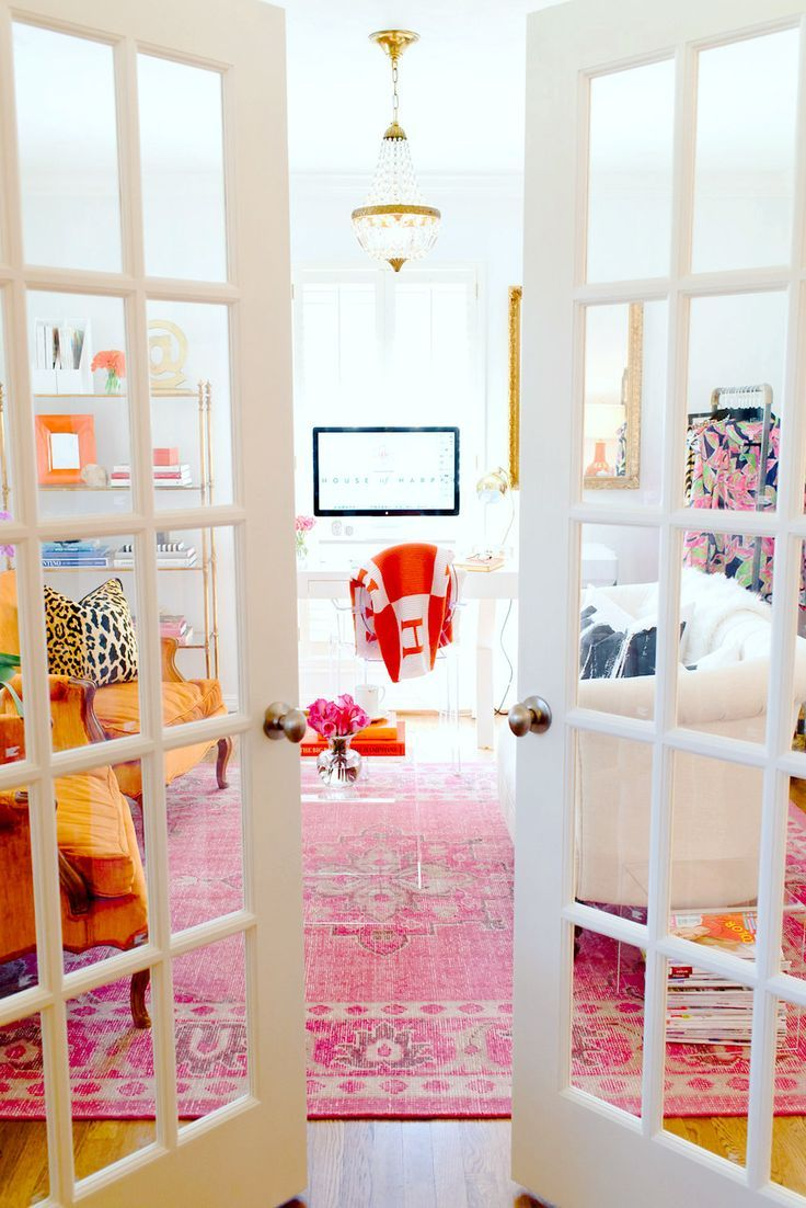 french doors for home office. French Doors To Home Office With Bright Colors And Red Hermès Blanket Over Chair For T