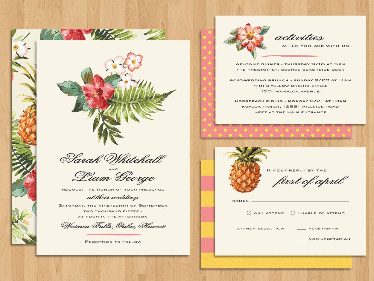 Sweet Pineapples Hawaiian Tropical Beach Destination Wedding Invitation Set