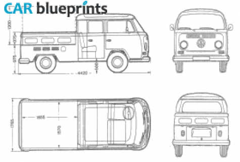 CAR blueprints / 1969 Volkswagen T2 A Crew Cab Pick-up blueprint ...