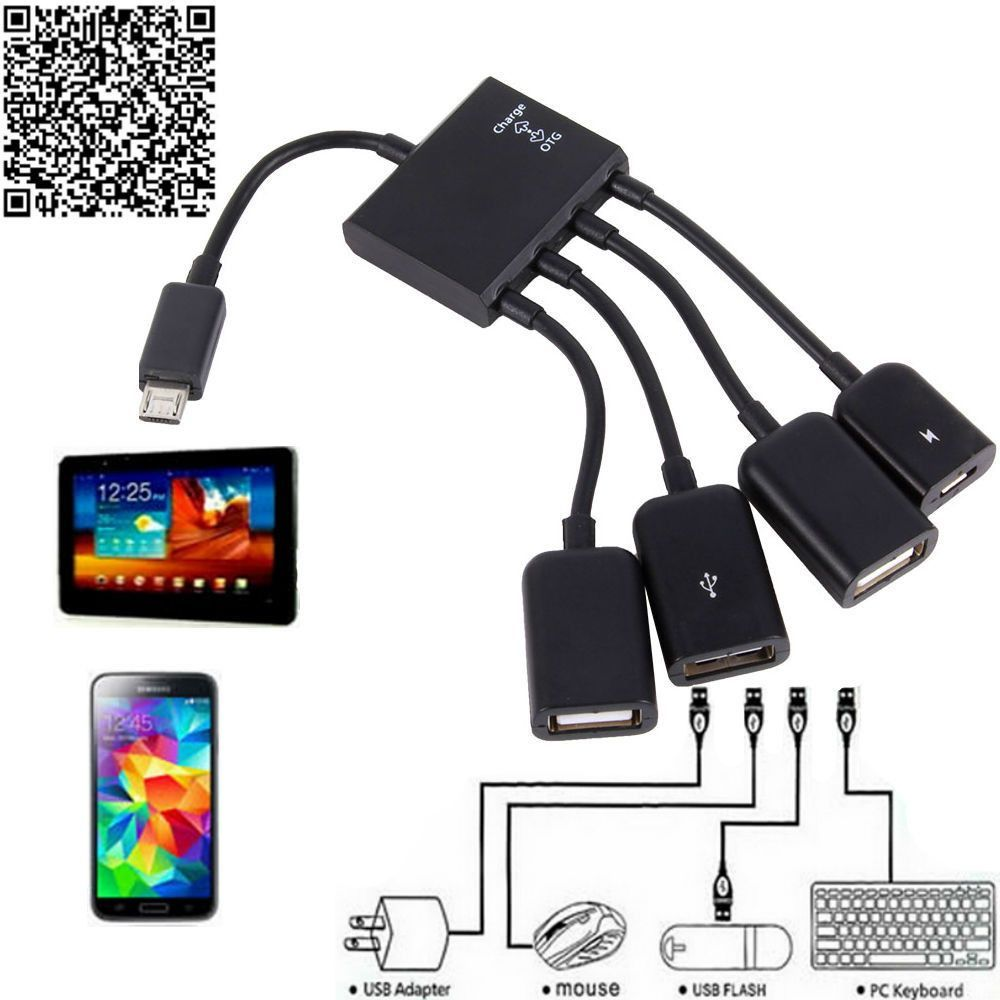 Free Ship Otg Hub Cable Connector Spliter 4 Port Micro Usb Power Charging Charger For