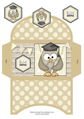 Graduation Owl Money Wallet on Craftsuprint designed by Janet Roberts - This money wallet goes with my 'Graduation Owl' mini kit .... please see the link below - Now available for download!