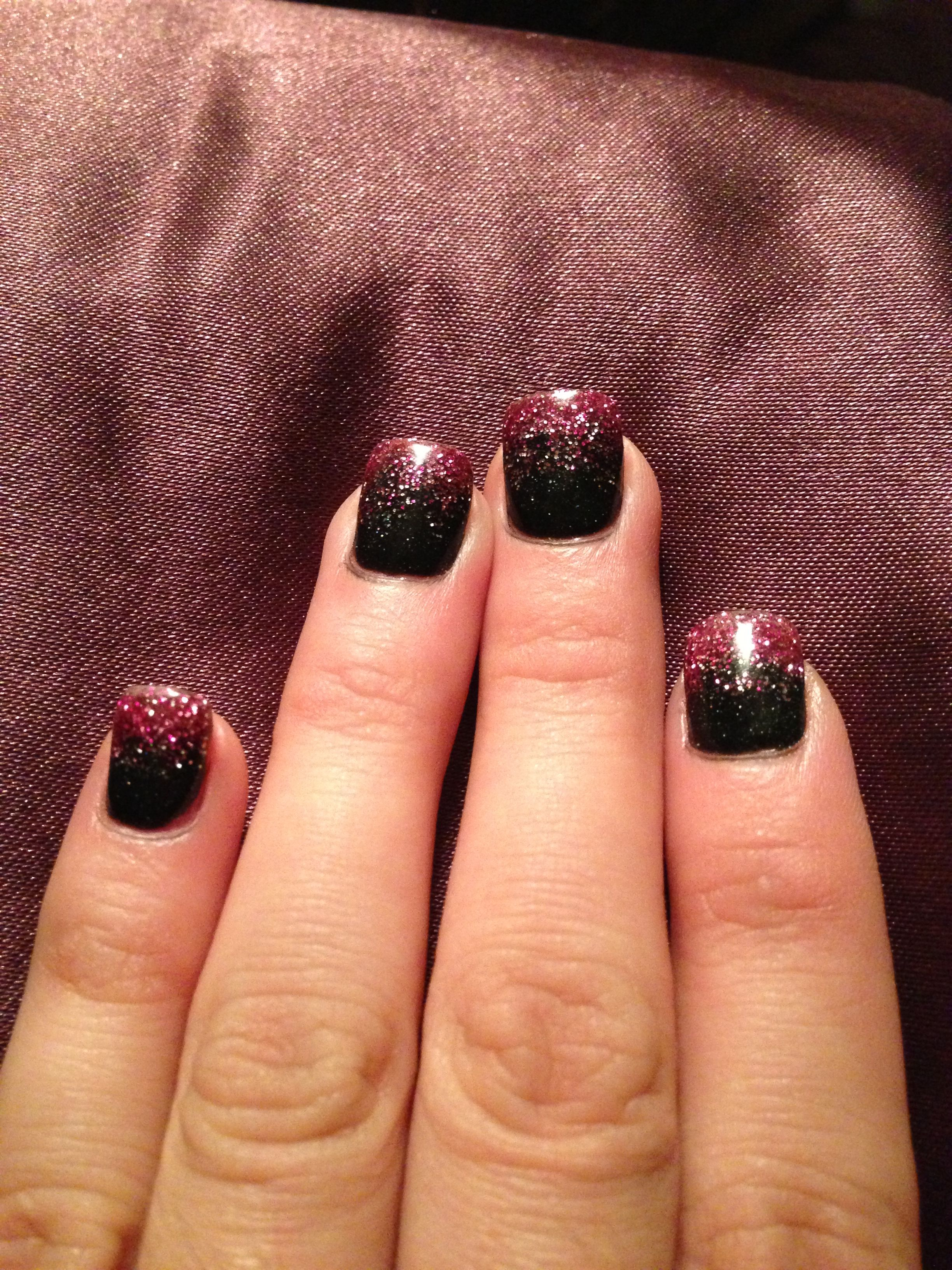 No Nail Polish Black Sparkle Acrylic Powder With Pink Overlay And A Clear Shellac Top Coat I Don T Have To Worry About