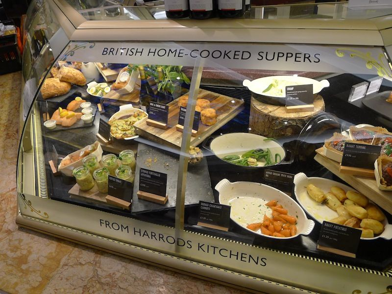 british home cooked suppers at harrod s food hall in london england