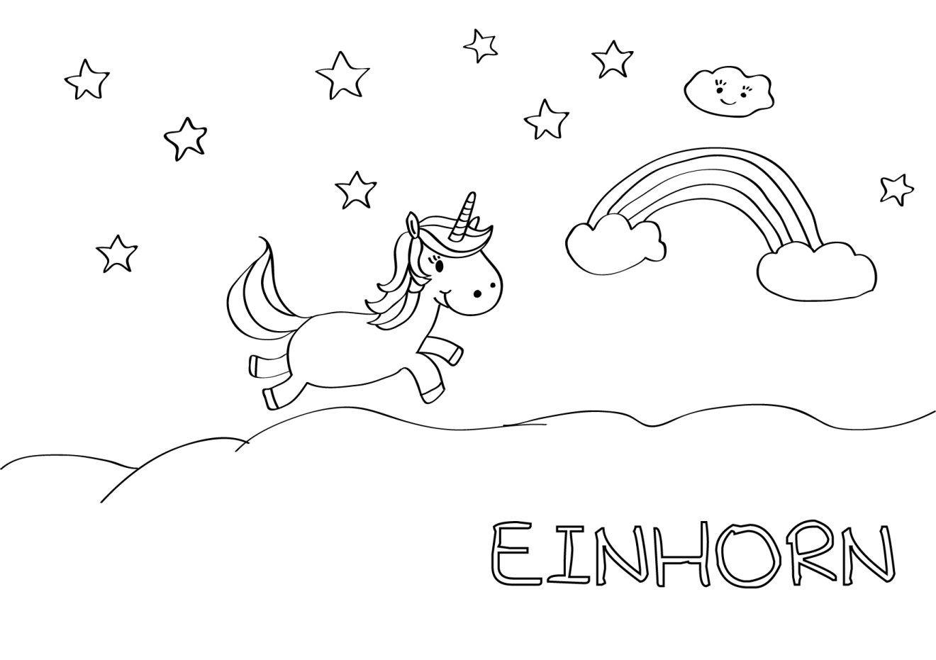 Printable & Malvorlage} Einhorn für kleine Prinzessinnen • Hallo