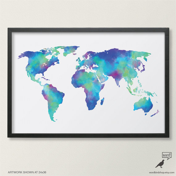 Watercolor map of the world in navy blue indigo teal cobalt watercolor map of the world in navy blue indigo teal cobalt turquoise world map poster large world map print digital watercolor painting gumiabroncs Images