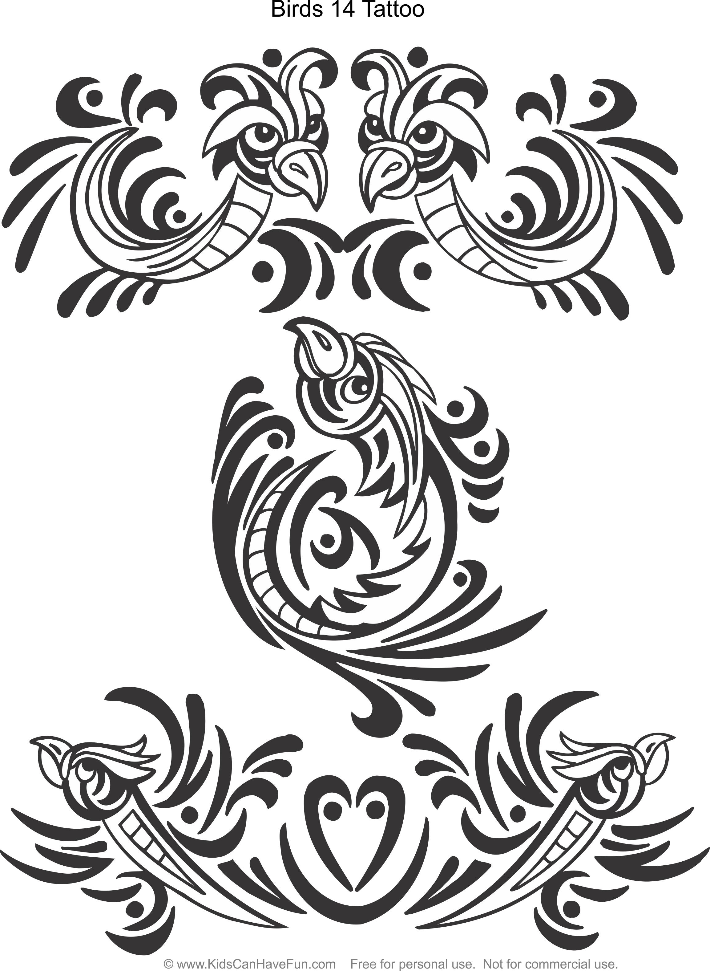 Tattoo designs coloring book - Birds 14 Tattoo Design Coloring Page Http Www Kidscanhavefun Com
