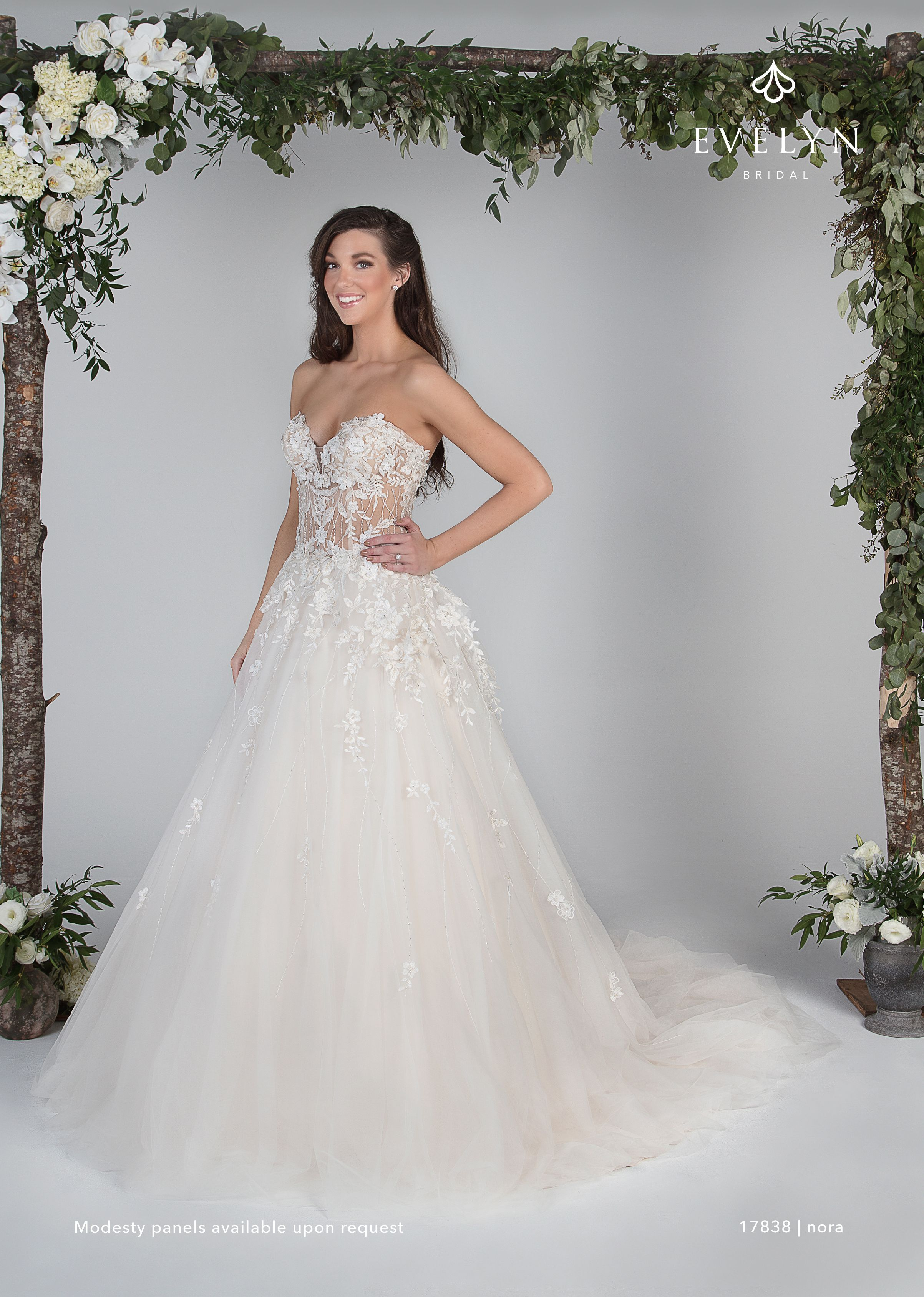 Nora 17838 Beautiful strapless tulle ball gown with an