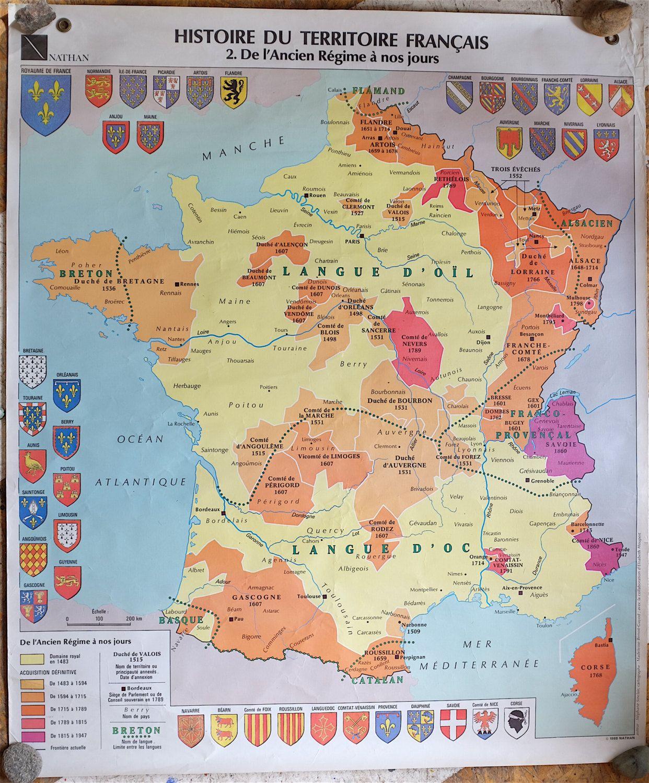 Carte De France Scolaire Vintage Imprimee Sur 2 Faces Histoire Du