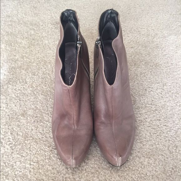 Jessica Simpson Minas Booties, Taupe, 7 1/2 Super cute, gently worn booties. Winter Taupe color, size 7 1/2. Jessica Simpson Shoes Ankle Boots & Booties
