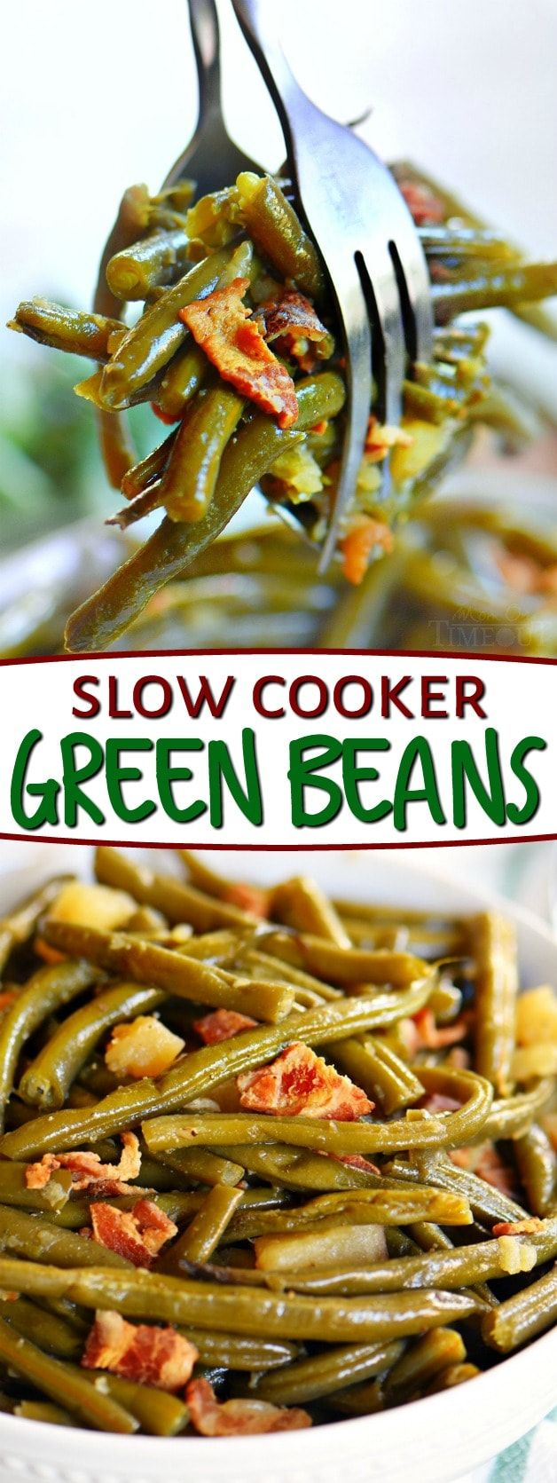 Slow Cooker Green Beans with Bacon is one of our very favorite side dishes! Just a handful of ingredients and a few minutes of work for this amazing recipe! // Mom On Timeout #green #beans #greenbeans #bacon #side #sides #sidedish #recipe #recipes #slowcooker #crockpot #dinnersidedishes