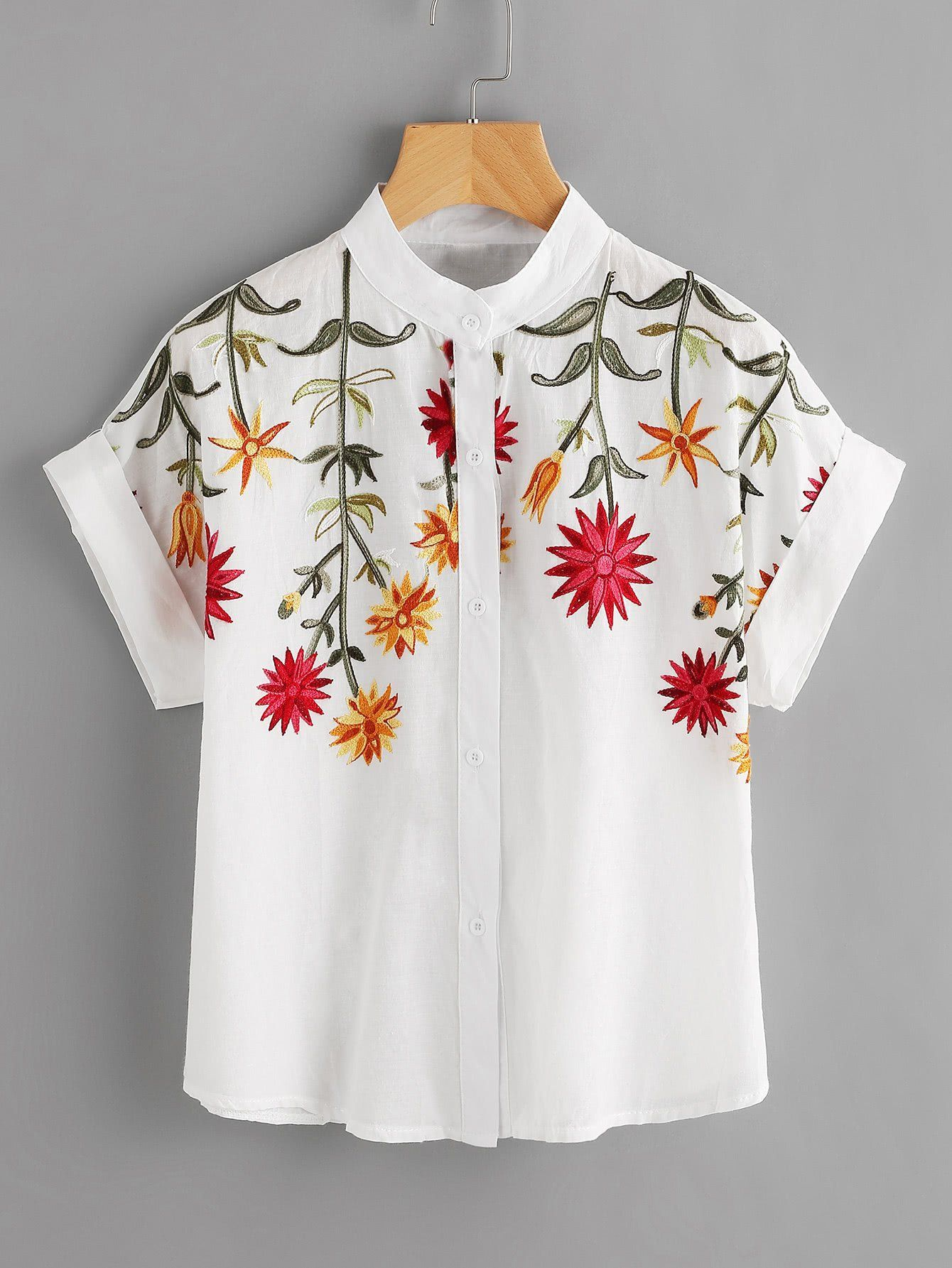a04c509a85598a Floral Embroidered Roll-up Cuff Blouse | Beautiful Women ...