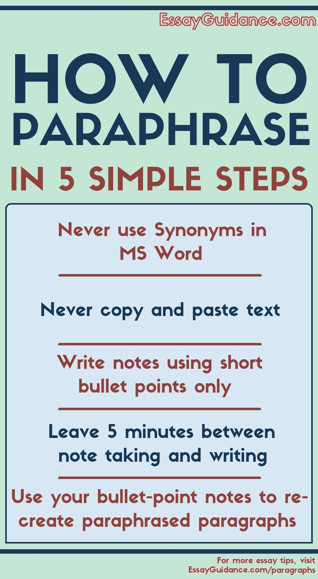 How To Paraphrase Like A Straight Student 5 Simple Step Essay Writing Skill Thesi Statement Skills Motivational Activity For Paraphrasing