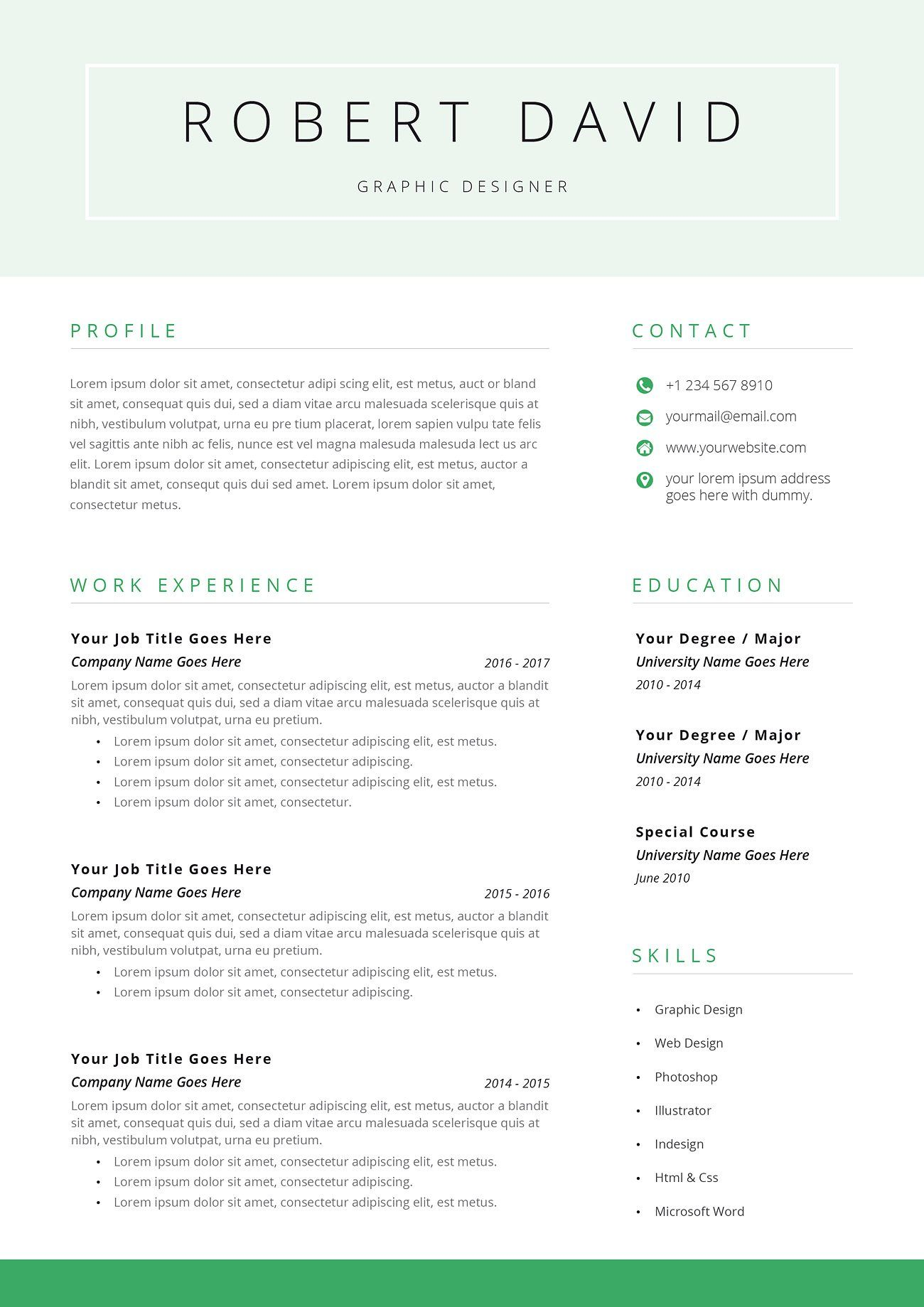 Resume Template / CV Templates, Resume template, Free