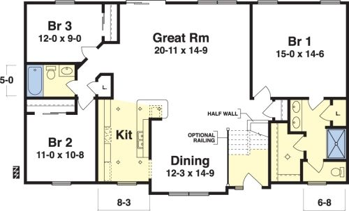 Easy floor plans with measurements bradley by simplex for Simple 3 bedroom floor plans