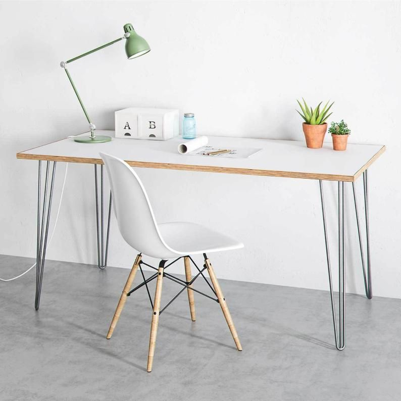 Hairpin Desk And Dining Table White Birch Plywood Etsy Plywood Table Furniture Birch Table