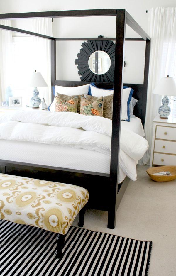 My Quick, No-Cost Bedroom Update Blue bedrooms, Sunburst mirror