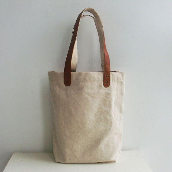 4f739dcdd Blank Original Canvas Tote Bag Genuine Leather Handles-12.5x13.6x4.5inch  -32x35x11.5cm