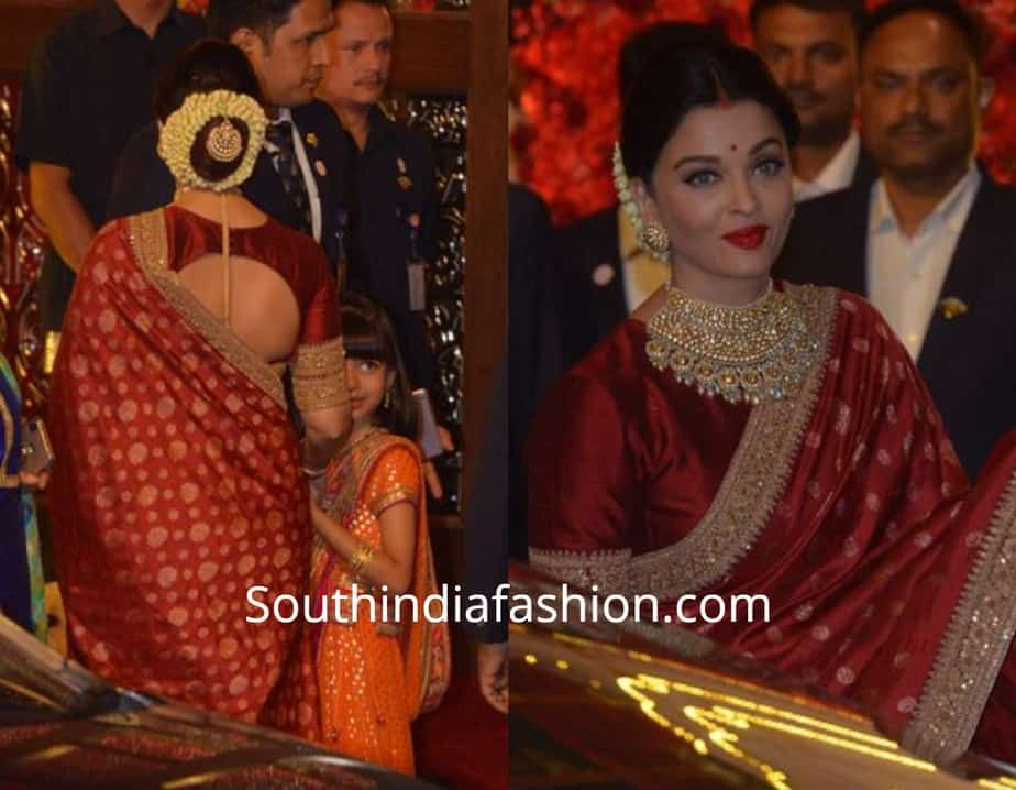 Aishwarya Rai With Family At Isha Ambani And Anand Piramal S Wedding South India Fashion Sabyasachi Sarees Sabyasachi Wedding Silk Saree