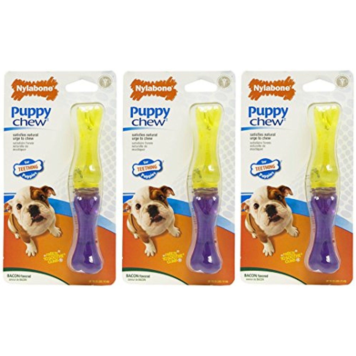 3 Pack Nylabone Just For Puppies Bacon Flavored Stick Bone Puppy