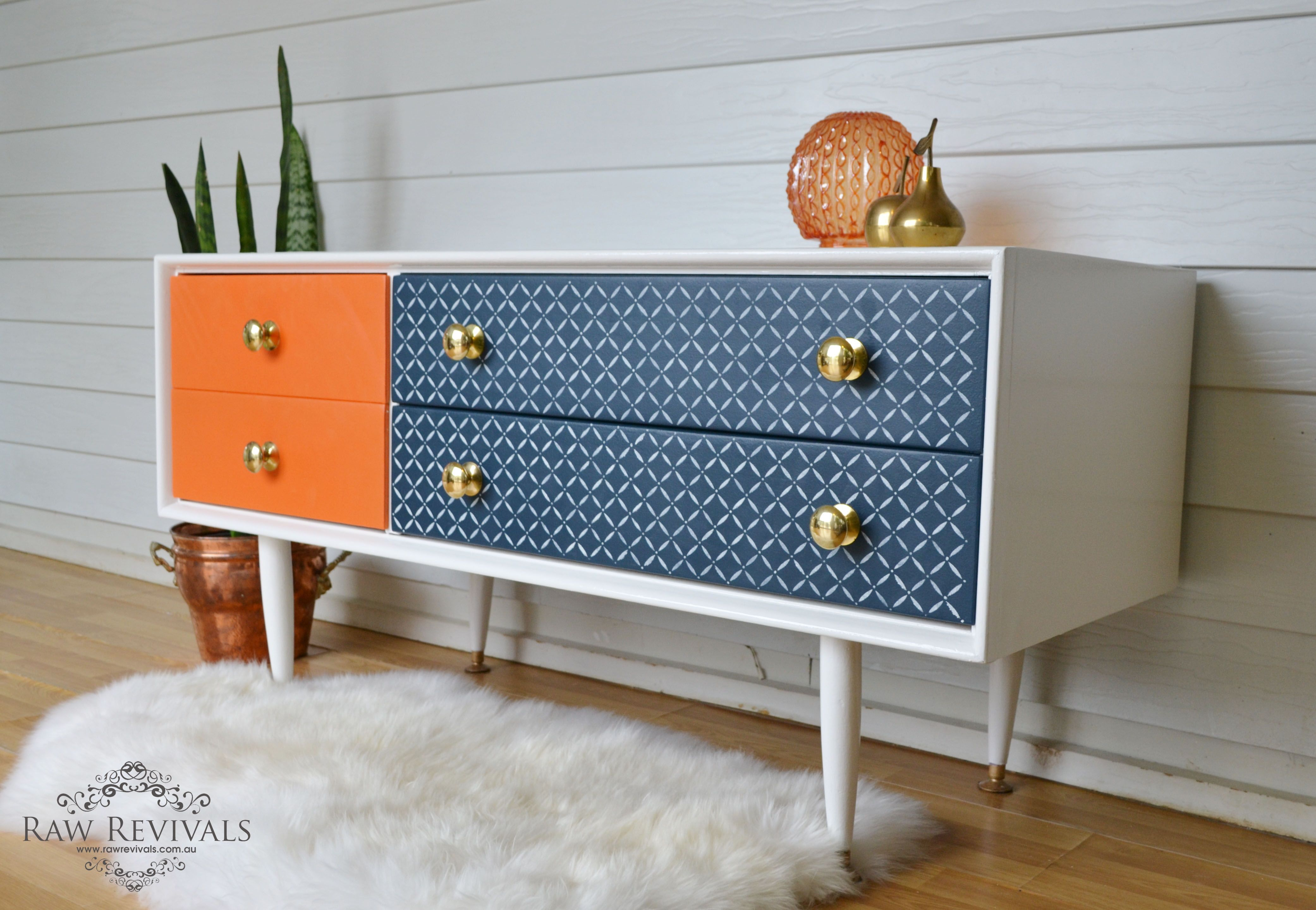 Furniture Awesome Retro Four Drawer Sideboard Orang Navy Blue And White  Color Gorgeous Blue Sideboard Designs