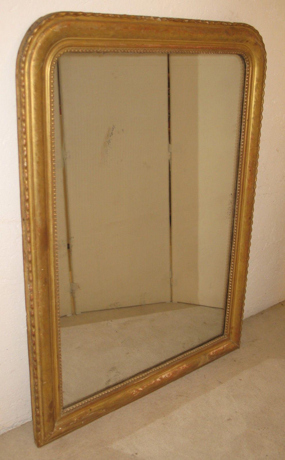 grand miroir louis philippe avec cadre bois dore epoque 19eme siecle