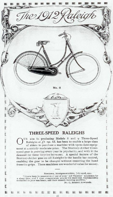 1912 Raleigh Ladies Loop Frame Roadster | Vintage bicycle ads ...