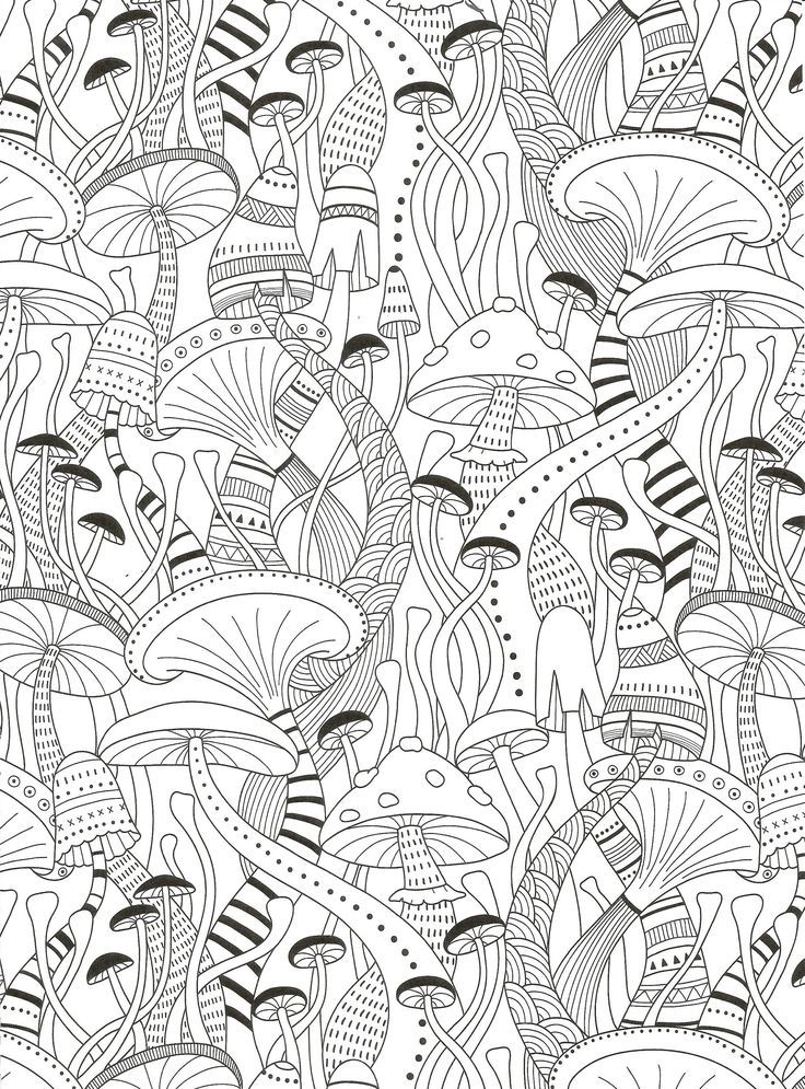 Mushrooms coloring page for adults  Crafting Style  Adult