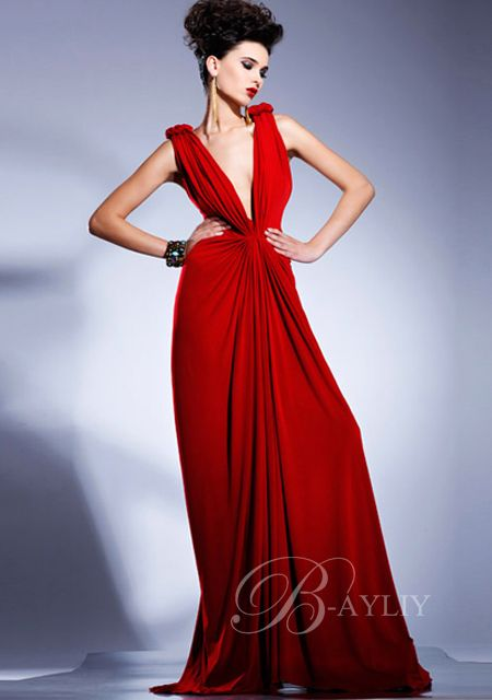 red evening dress - Dress Yp