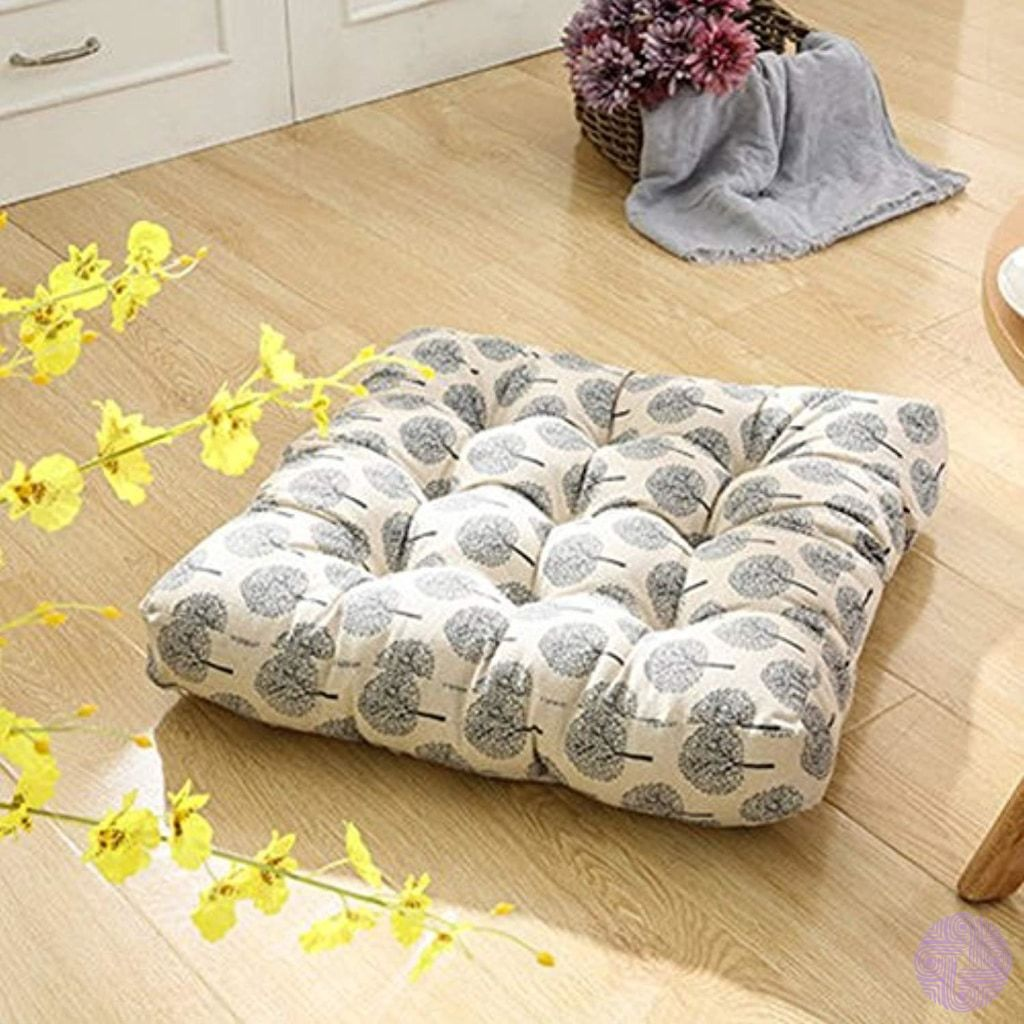 Patterned Japanese Style Button Tufted Floor Cushions Floor