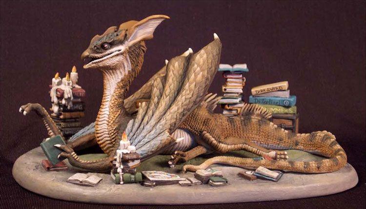 Book Wyrm - Dragon Diorama Set - DiTerlizzi Masterworks - Miniature Lines