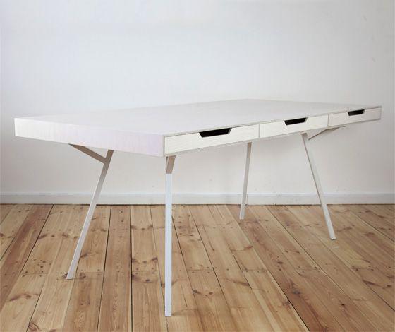 Architect's Table / White Drawers by Daniel Klapsing & Philipp Schöpfer for 45 Kilo (DE)