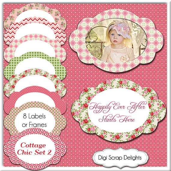 Cottage Chic Labels 1/ Shabby Chic Frames/ 8 Tags / Clip art ...