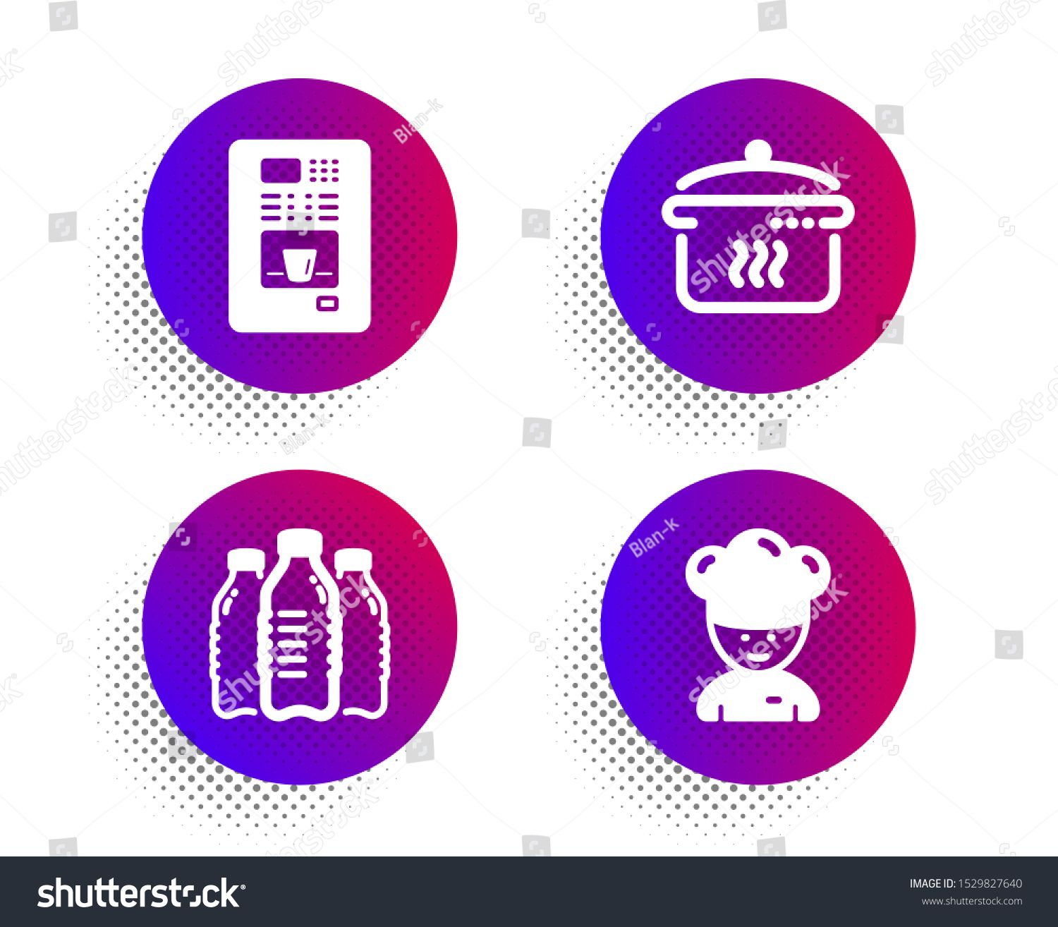 Water Bottles Boiling Pan And Coffee Vending Icons Simple Set Halftone Dots Button Cooking Chef Sign Aqua In 2020 Coffee Vending Machines Water Bottle Drinking Set