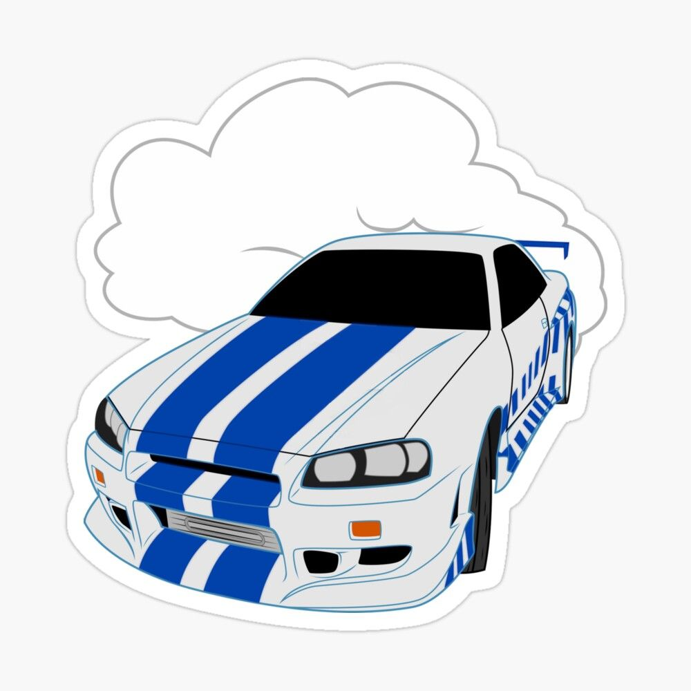 Get My Art Printed On Awesome Products Support Me At Redbubble Rbandme Https Www Redbubble Com I Sticker 2f2 Skyli R34 Skyline Paul Walker Racing Stickers [ 1000 x 1000 Pixel ]