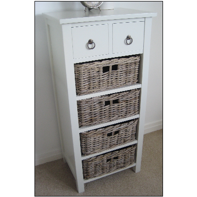 TETBURY Cottage Chest Of Drawers Wicker Baskets Tallboy STORAGE Country  Chic Perfect For Toy Storage In Living Room