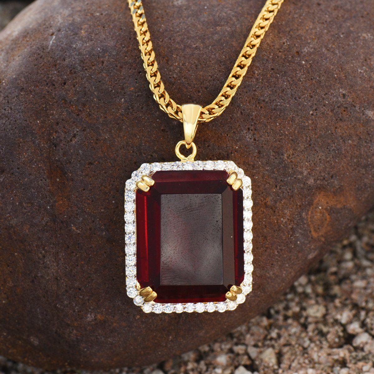 Garnet ruby pendant necklace set k yellow gold charm mens rapper