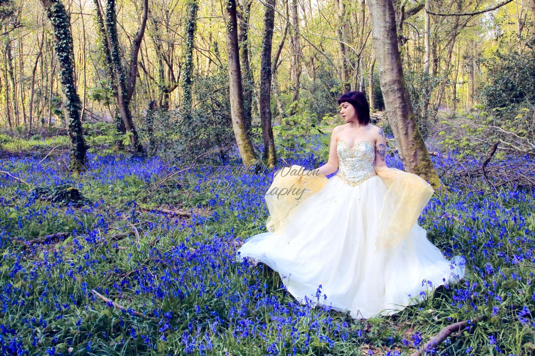 Wedding photography in a bluebell wood #weddingdress #bluebells #bluebellwoods #springbrides #weddingphotography #conceptphotography