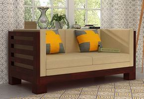 Hizen 2 Seater Wooden Sofa With Mahogany Finish Reflects Elegant Style And Beautifies The Space The Sn Wooden Sofa Designs Wooden Sofa Set Designs Wooden Sofa