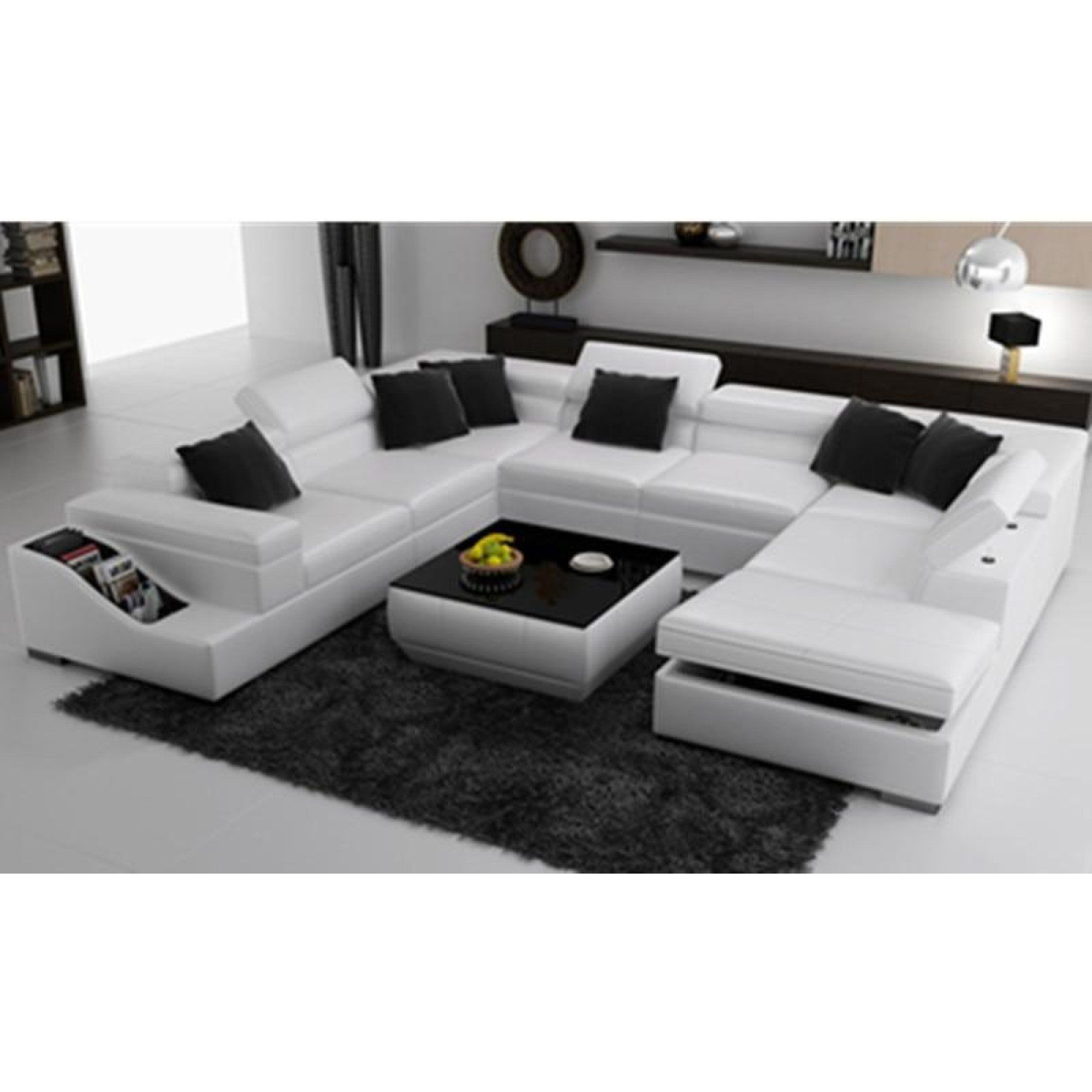 Elegant Comfort White Sectional Couch