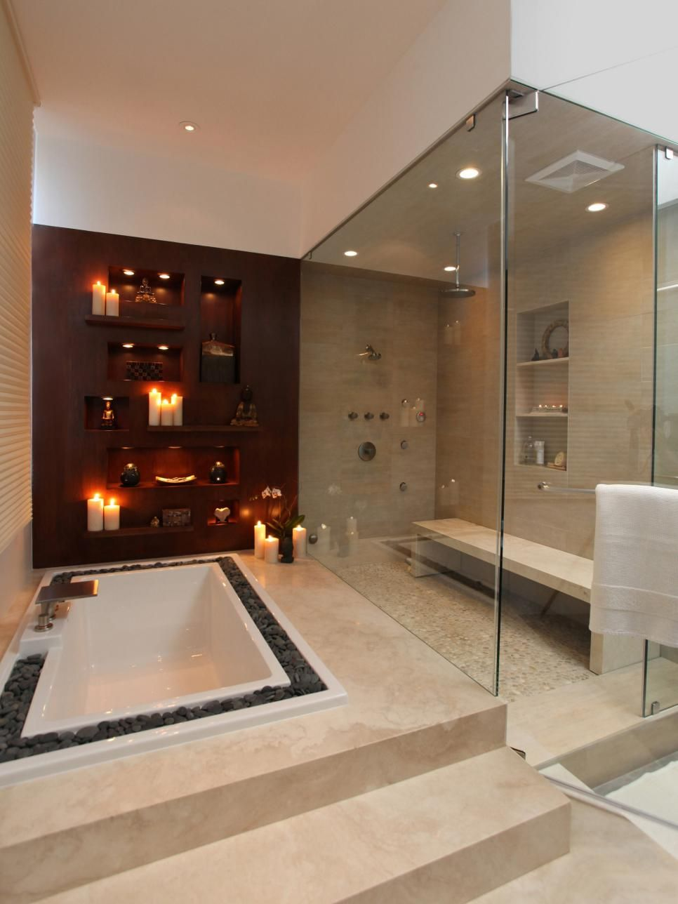 designed long bathrooms. A wall of candles  a double occupancy shower complete with long bench and Sexy Master Bathrooms to Put You in the Mood Tubs Bench