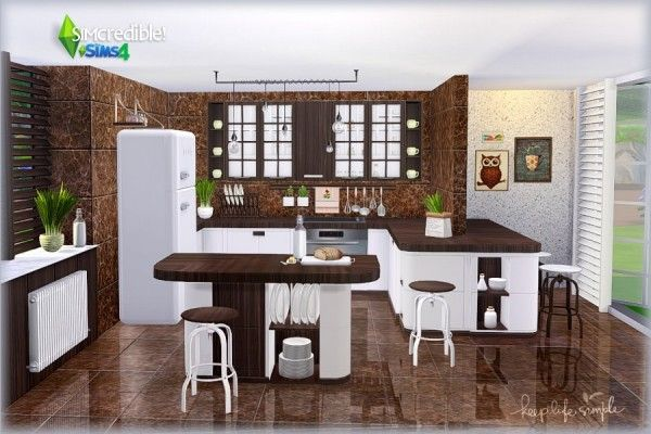 SIMcredible Designs Keep Life Simple kitchen • Sims 4