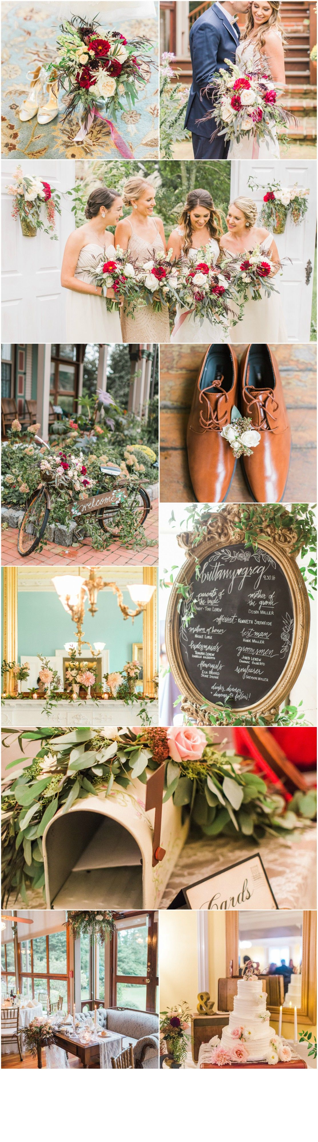 Cape May Wedding Florist - A Garden Party florist - Southern Mansion - Ashley Errington Photography - red wedding flowers - fall wedding - chalk art - vintage wedding