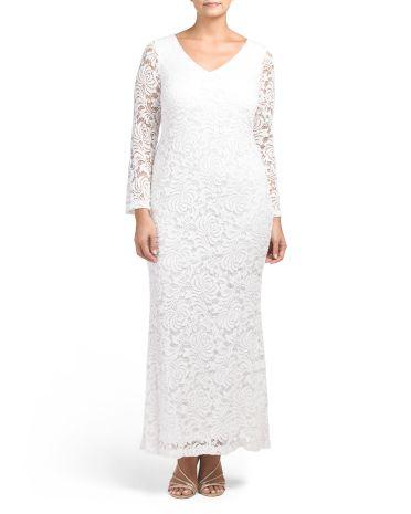Plus Size Formal Wedding Dress Plus Size Women S Lace Wedding Dress With Sleeves Plus Size 100 Or Less Lace Long Gown Formal Dresses For Weddings Dresses