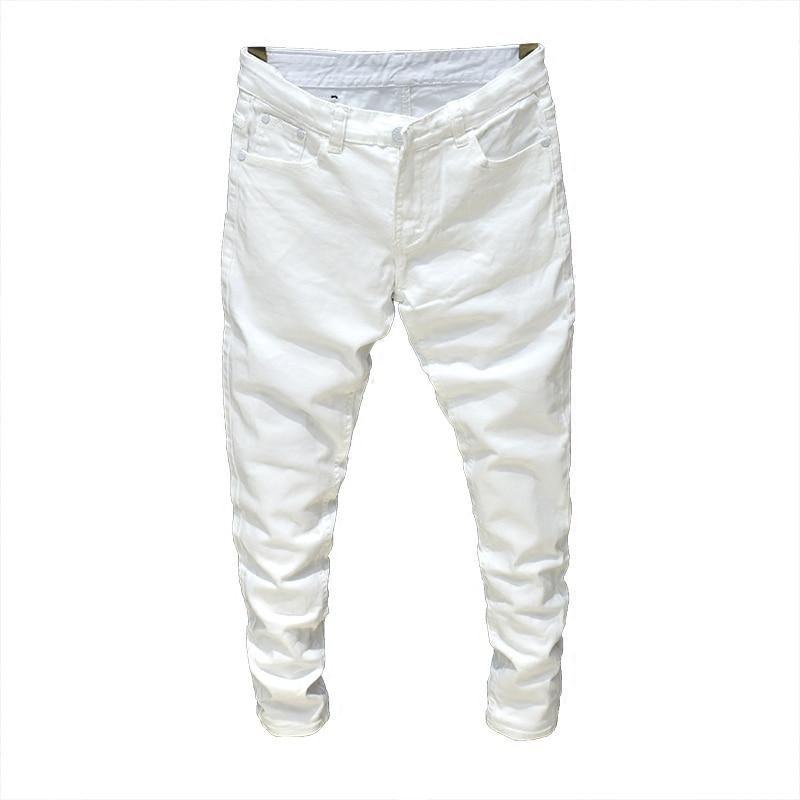 1e437fbc4eeb 2019 Men Stretch Jeans Fashion white black Denim Trousers For Male Spring  And Autumn Retro