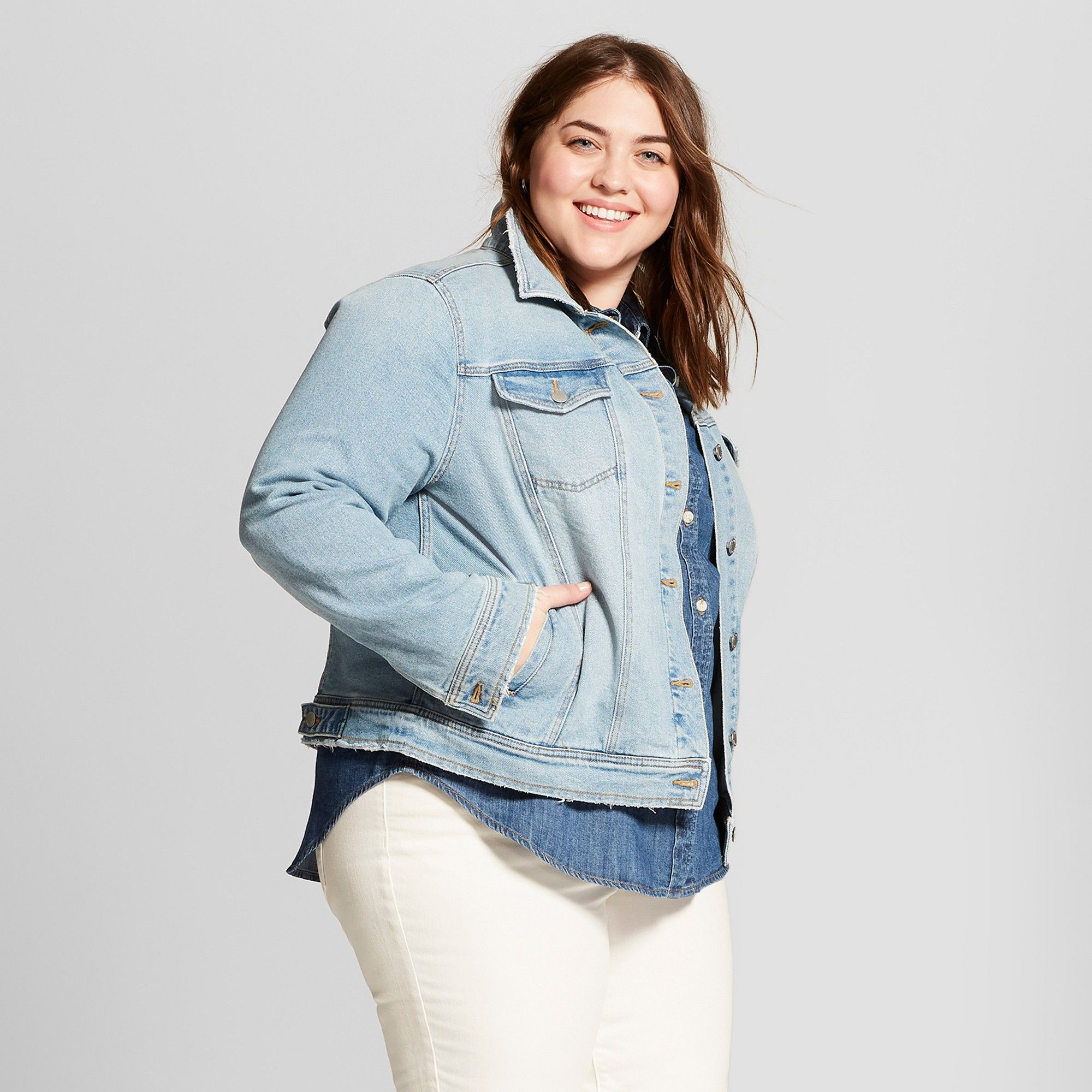 d78163a49ca Women s Plus Size Freeborn Denim Jacket - Universal Thread Light Wash 4X