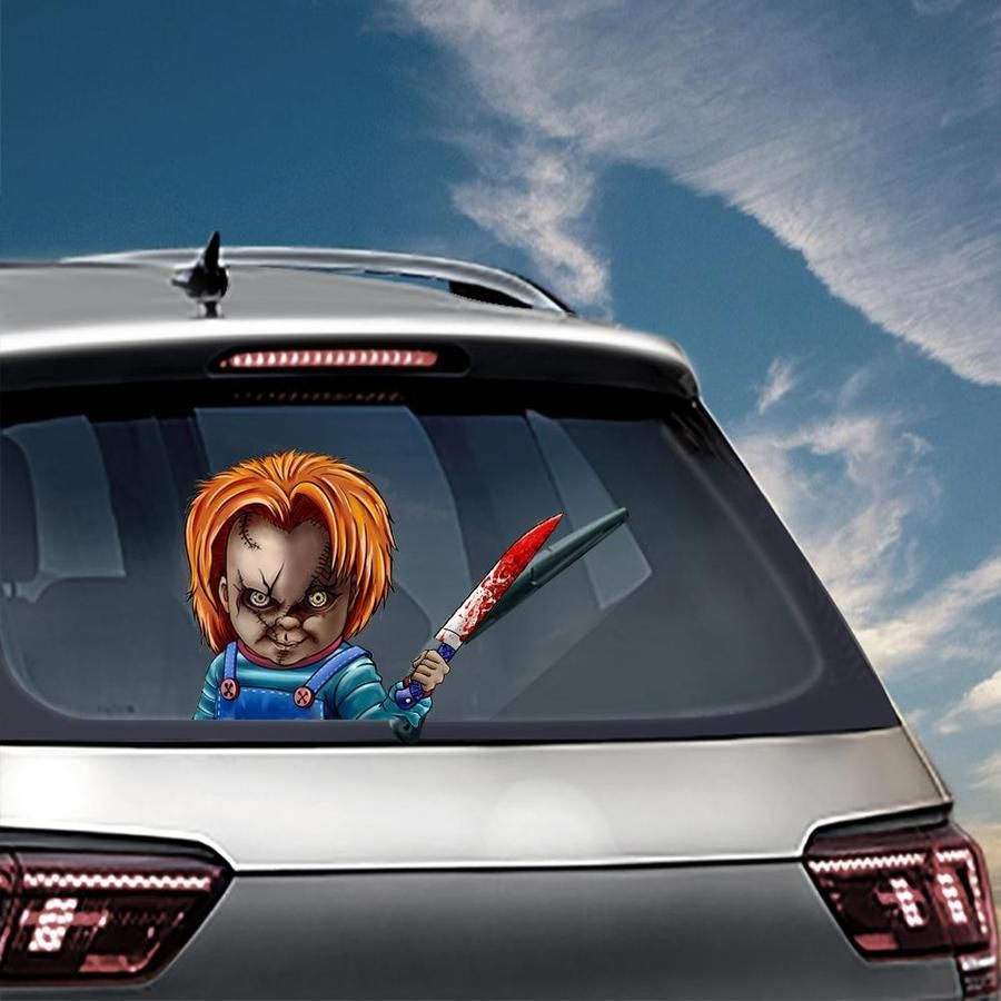 Christmas Halloween Car Rear Window Decoration Decal Sticker Chucky In 2021 Rear Window Car Window Decor [ 900 x 900 Pixel ]
