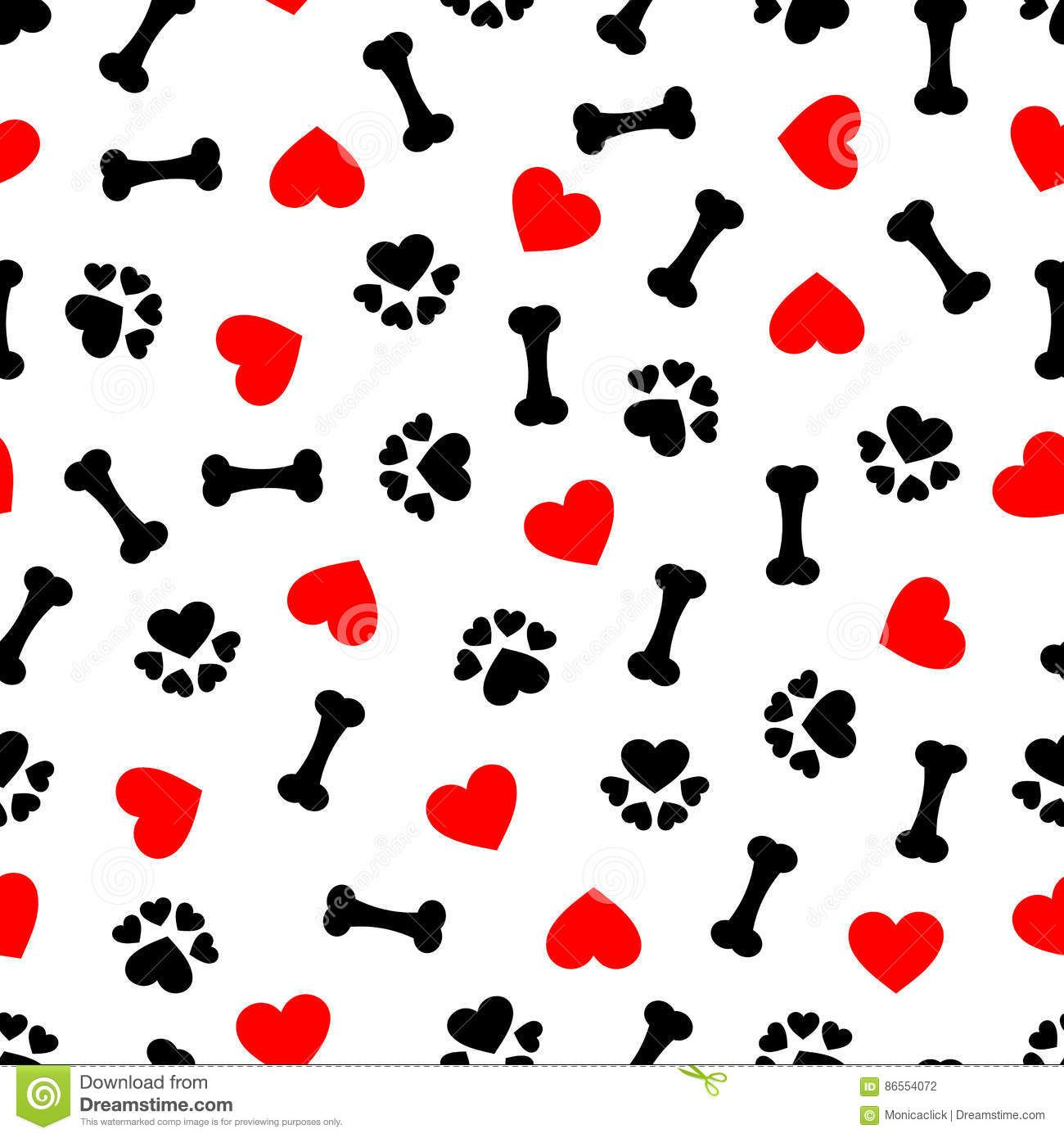 Cute Seamless Pattern With Dog Bone Paw Print And Red Heart Transparent Background Stock Vector Illustration Of