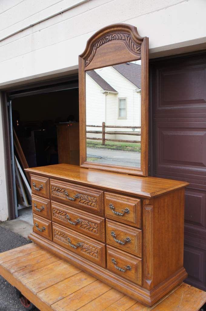 Sumter Cabinet 1970 39 S Distressed Oak Carved 9 Drawer Dresser Hanging Mirror The Designers
